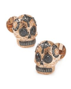 Rose Gold and Black PVD Day of Dead Skull Cufflinks