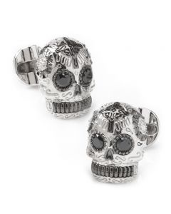 Silver and Black PVD Day of the Dead Skull Cufflinks