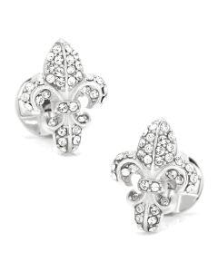 Sterling Silver Swarovski Pave Fleur De Lis Cufflinks