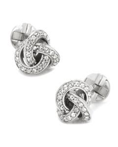 Sterling Silver Swarovski Pave Knot Cufflinks