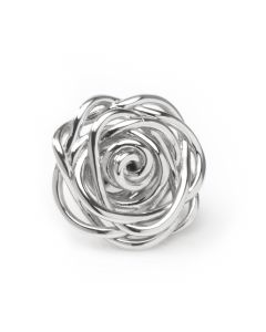 Sterling Silver Rhodium Plated Rose Lapel Pin