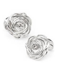 Sterling Silver Rhodium Plated Rose Cufflinks