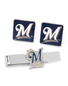 Milwaukee Brewers Cufflinks and Tie Bar Gift Set