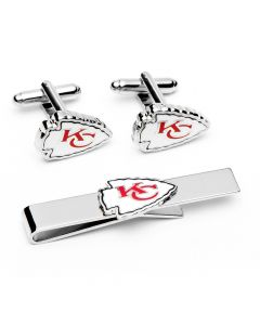 Kansas City Chiefs Cufflinks and Tie Bar Gift Set