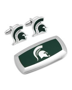 Michigan State Spartans Cufflinks and Cushion Money Clip Set