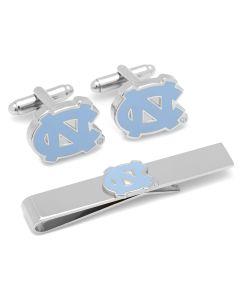 North Carolina Tarheels Cufflinks and Tie Bar Gift Set