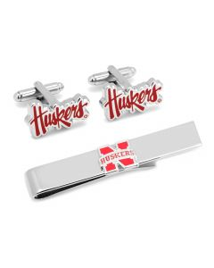 Nebraska Cornhuskers Cufflinks and Tie Bar Gift Set