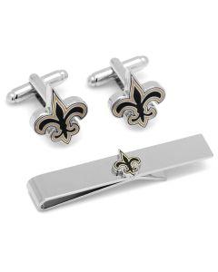 New Orleans Saints Cufflinks and Tie Bar Gift Set