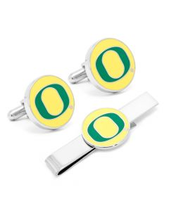 Oregon Ducks Cufflinks and Tie Bar Gift Set