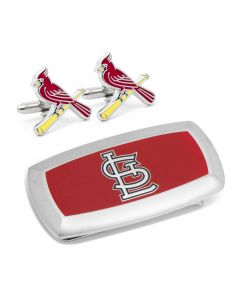 St Louis Cardinals Cufflinks and Cushion Money Clip Gift Set