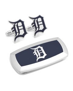 Detroit Tigers Cufflinks and Cushion Money Clip Gift Set