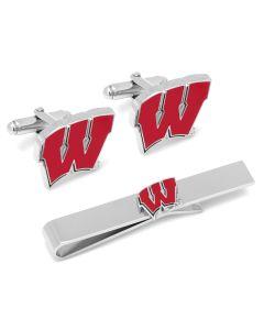 University of Wisconsin Badgers Cufflinks and Tie Bar Set