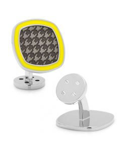 Palladium Black and Yellow Houndstooth Cufflinks