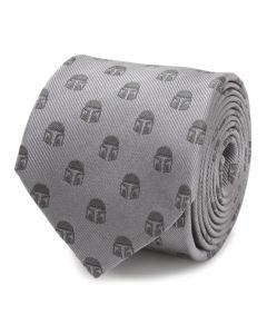 Mandalorian Helmet Gray Men's Tie