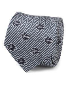 Millennium Falcon Herringbone Blue Men's Tie