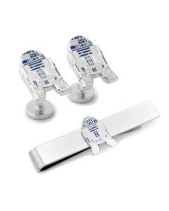 R2D2 Transparent Enamel Cufflinks and Tie Bar Gift Set