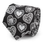 Black and White Paisley Heart Men's Tie
