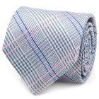 Blue and Pink Glen Plaid Silk Tie