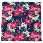 Painted Floral Navy Pocket Square